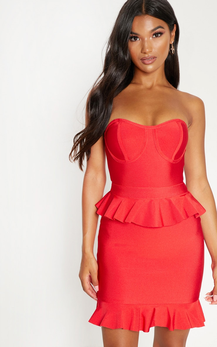 Red Bandeau Bandage Frill Detail Bodycon Dress