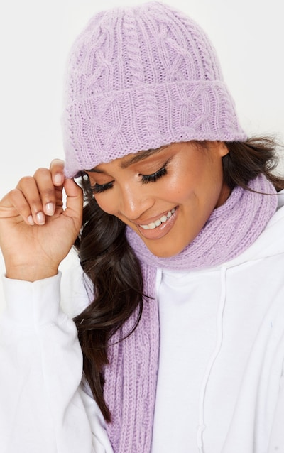 Lilac Cable Knit Turn Up Beanie Hat