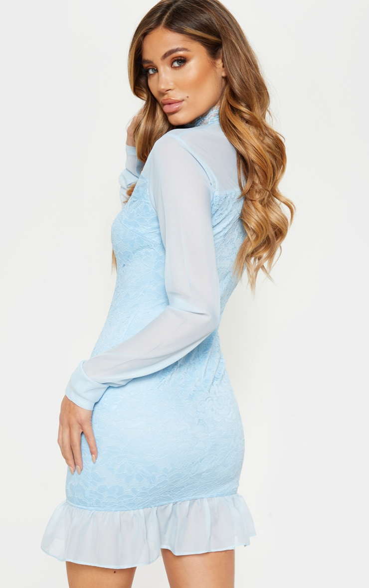 Isobel dusty blue lace high neck bodycon dress