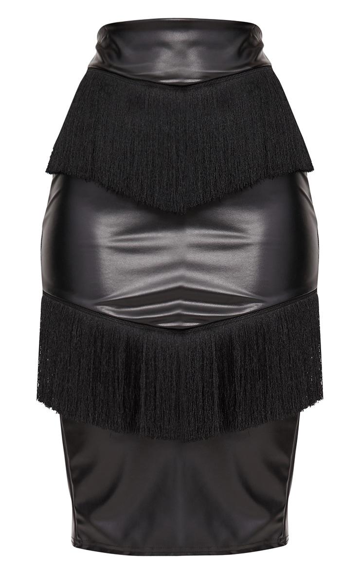 Black PU Fringe Detail Midi Skirt  3