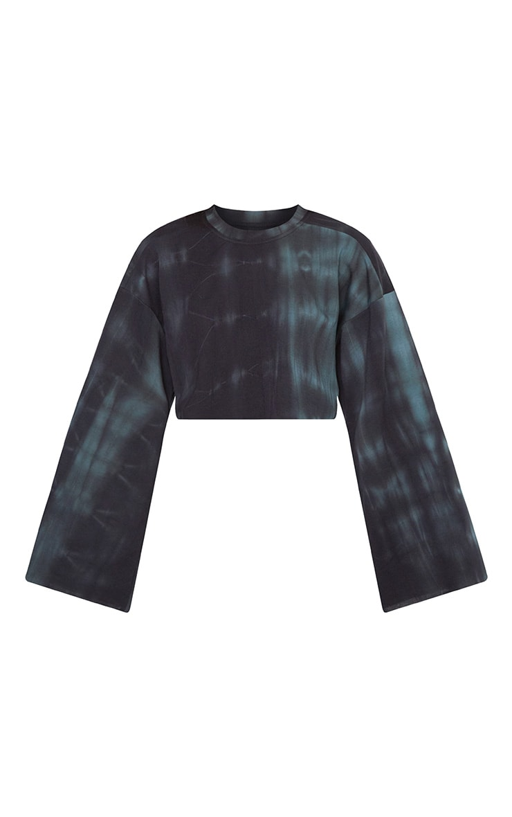 Black Tie Dye Cropped Extreme Sleeve Sweater 3
