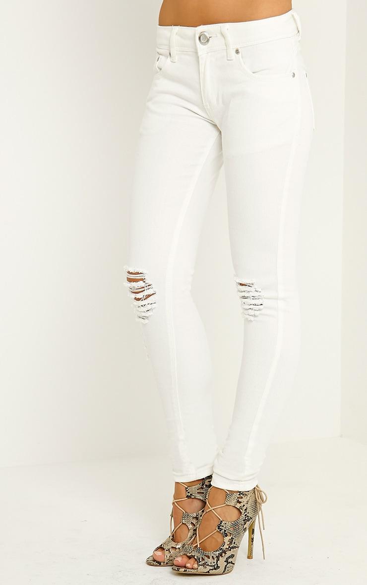 Reva Cream Ripped Skinny Jean 3