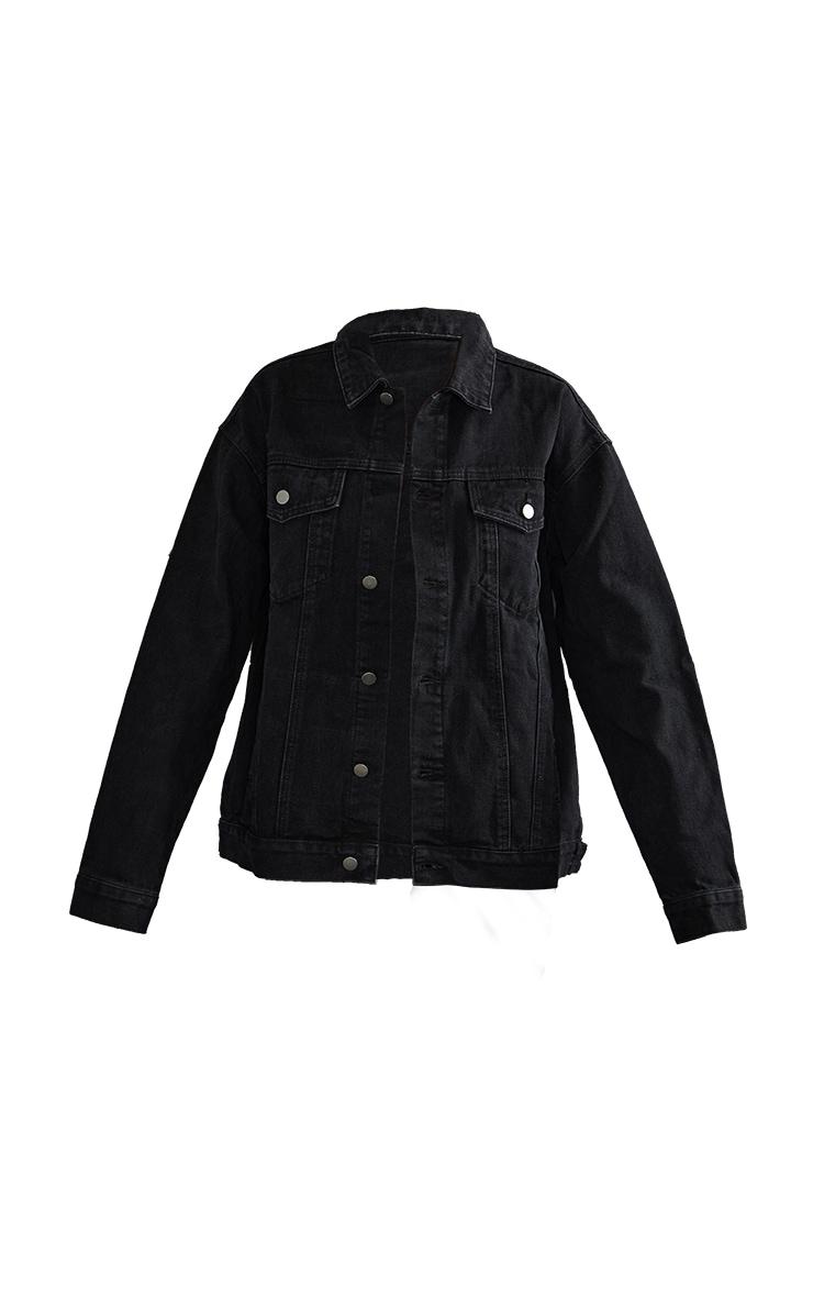 PRETTYLITTLETHING Washed Black Oversized Boyfriend Denim Jacket 5