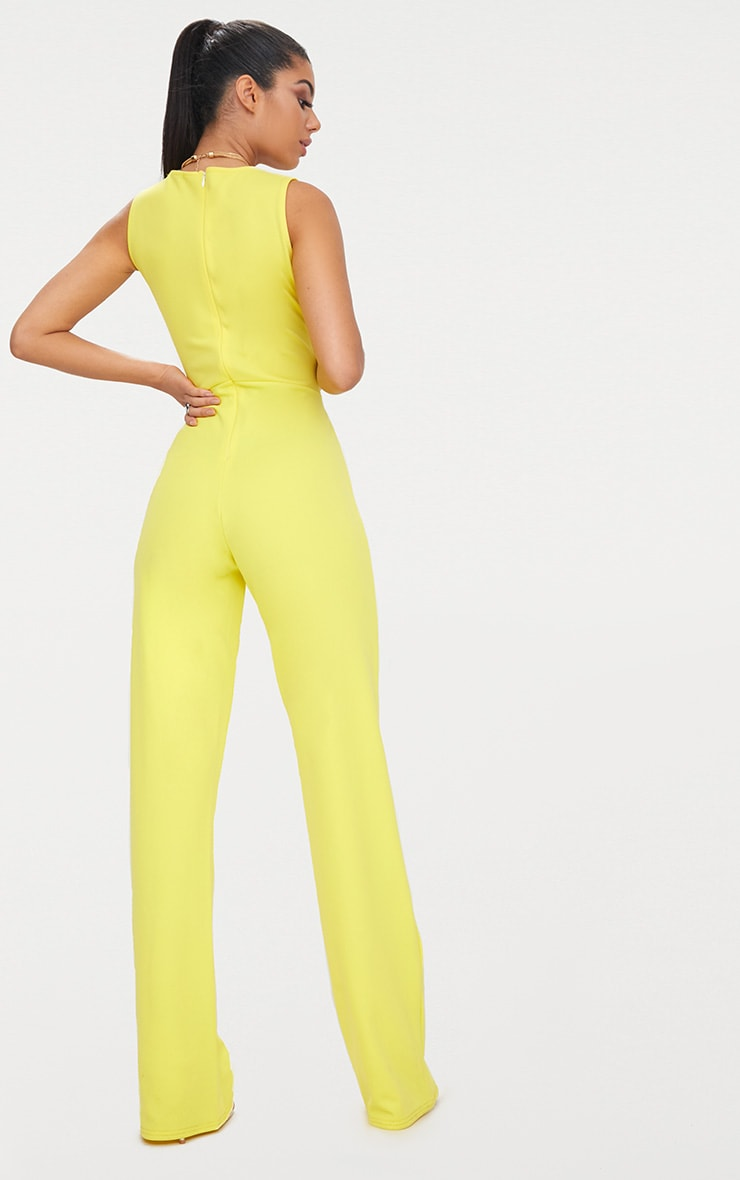 Yellow Plunge Cut Out Jumpsuit 3
