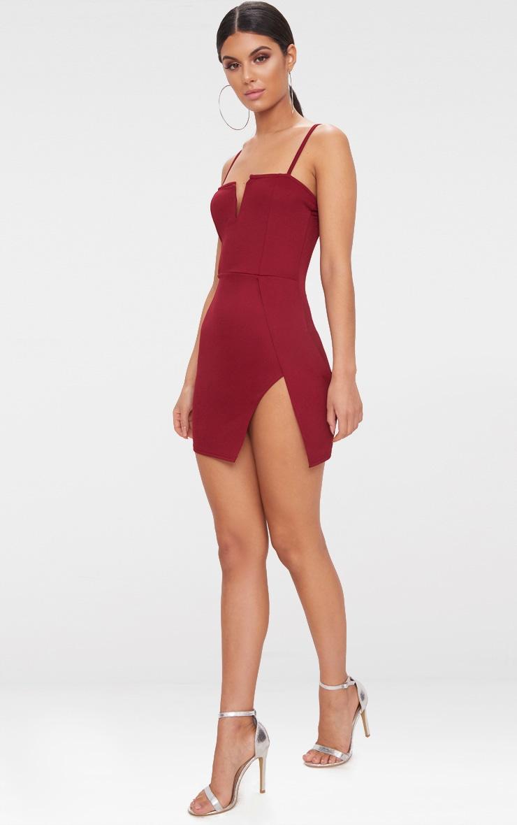 Burgundy Extreme Thigh Split Panelled Plunge Bodycon Dress 4