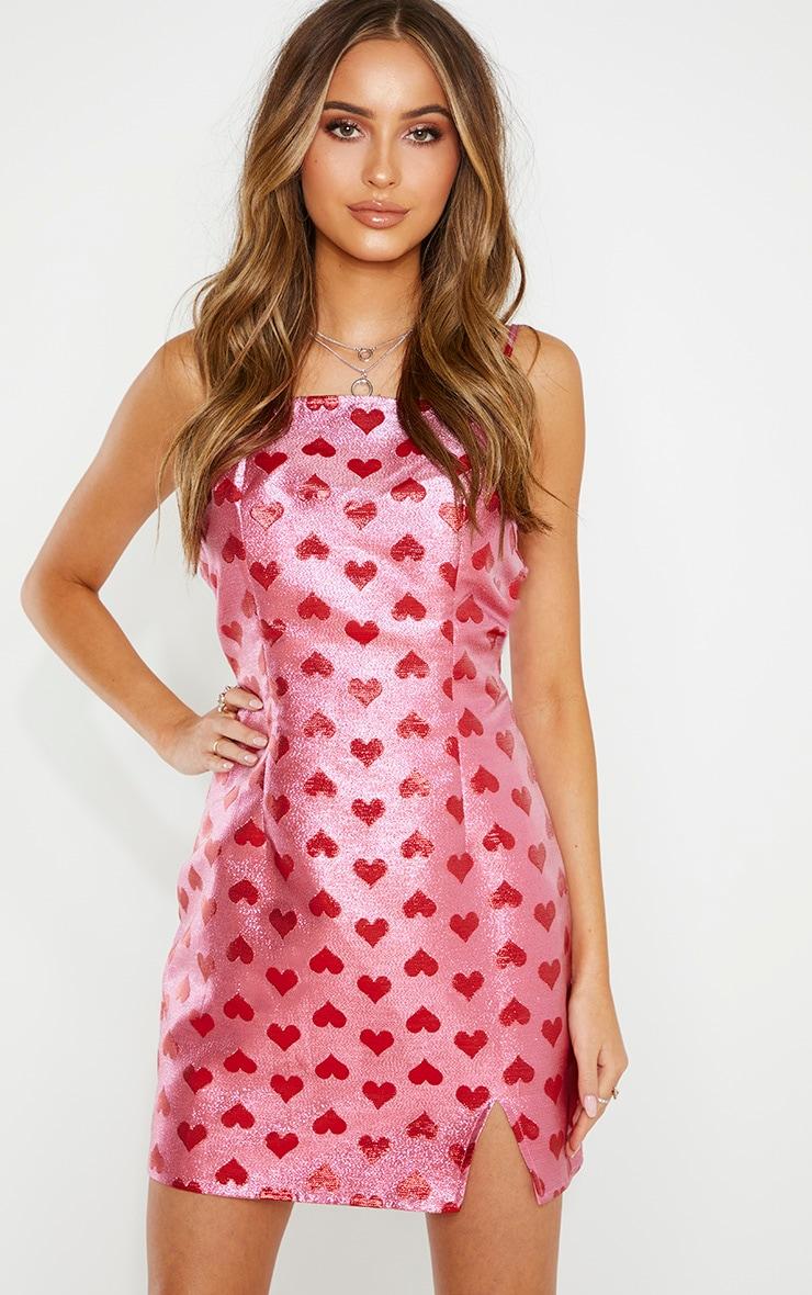 Pink Metallic Love Heart Bodycon Dress 4