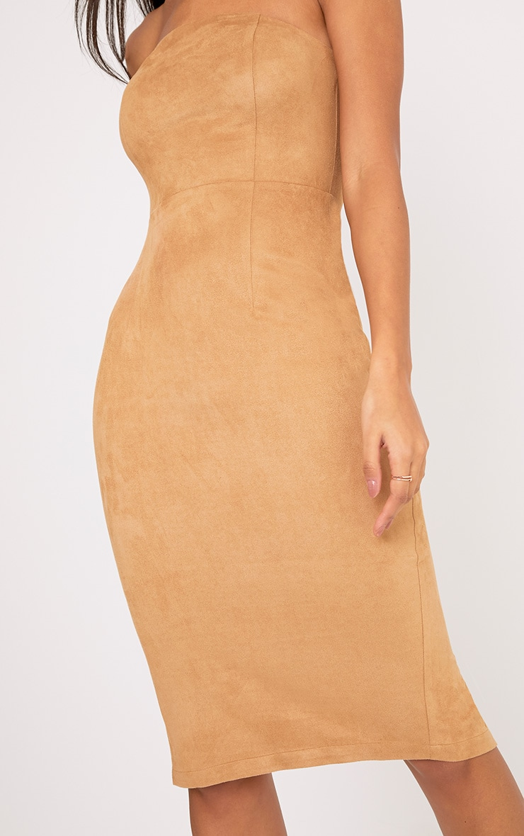 Kiya Tan Faux Suede Bandeau Midi Dress 5