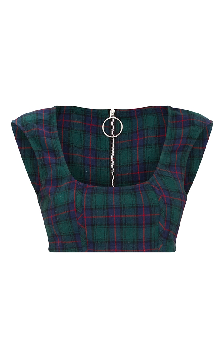 Green Check Low Square Neck Crop Top 3