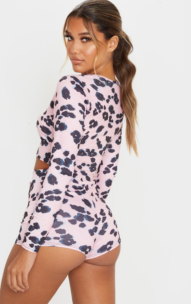 Pink Leopard Print Long Sleeve Crop And Shorts PJ Set 2