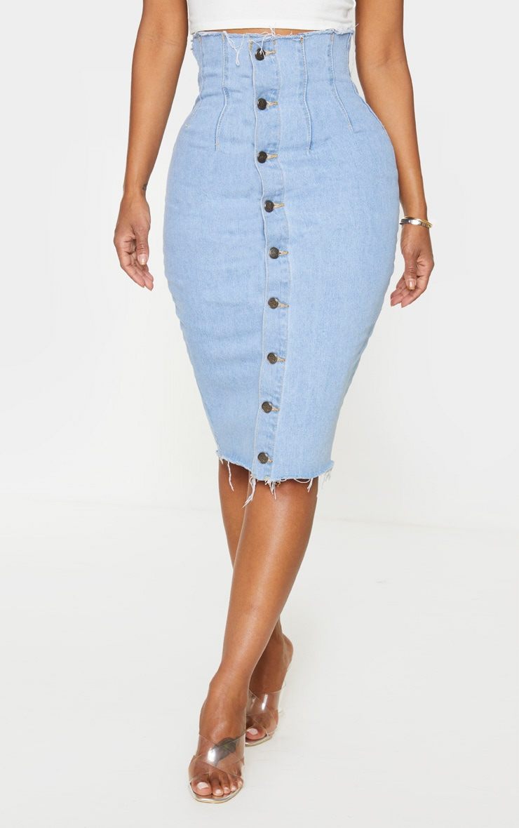 Shape Light Blue Button Front Seam Detail Denim Midi Skirt 2