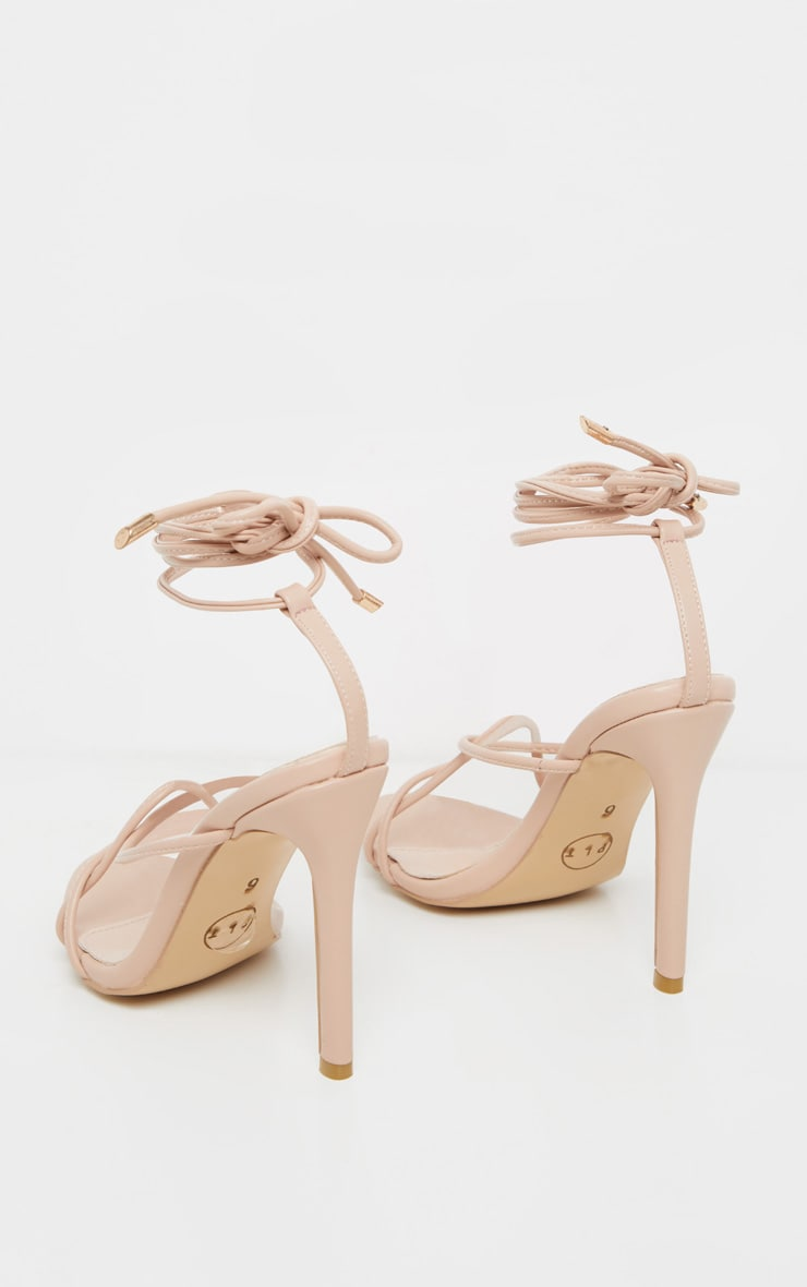 Nude Strappy Tie Sandal 4