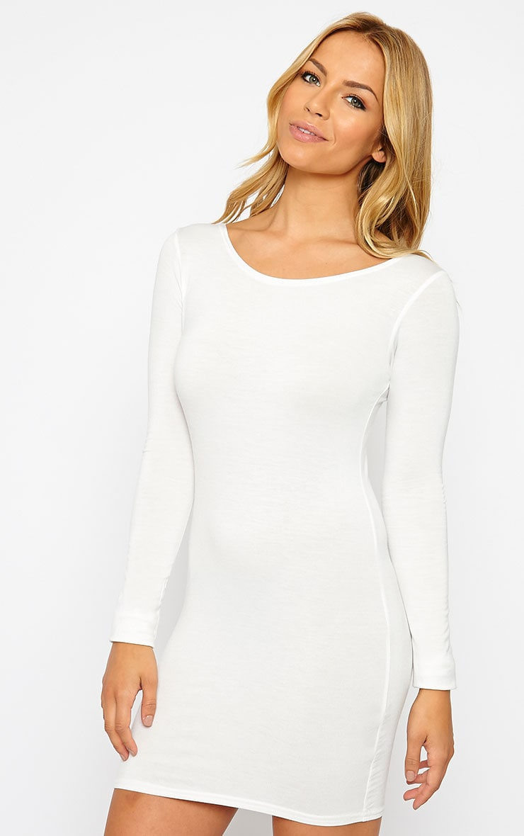 Basic Cream Long Sleeve Jersey Mini Dress 4