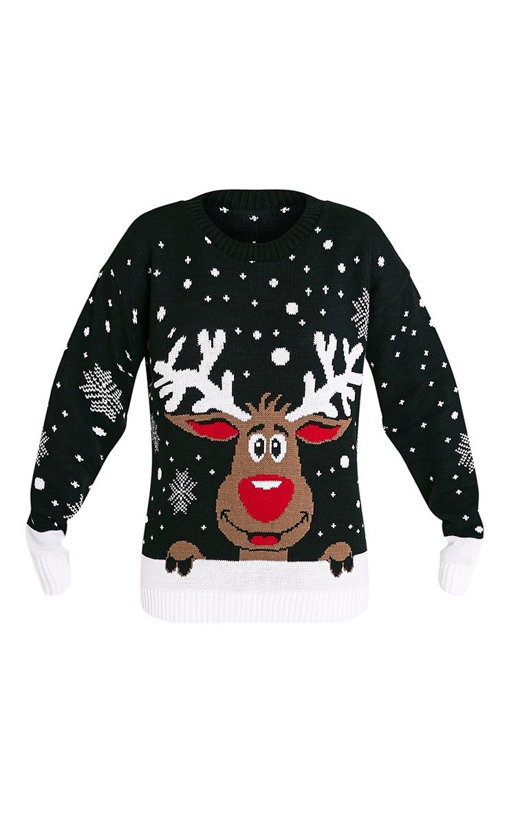 Rudolph Black Christmas Jumper 3