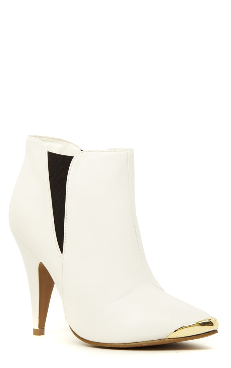 Anastasia White Pu Leather Ankle Boots 3