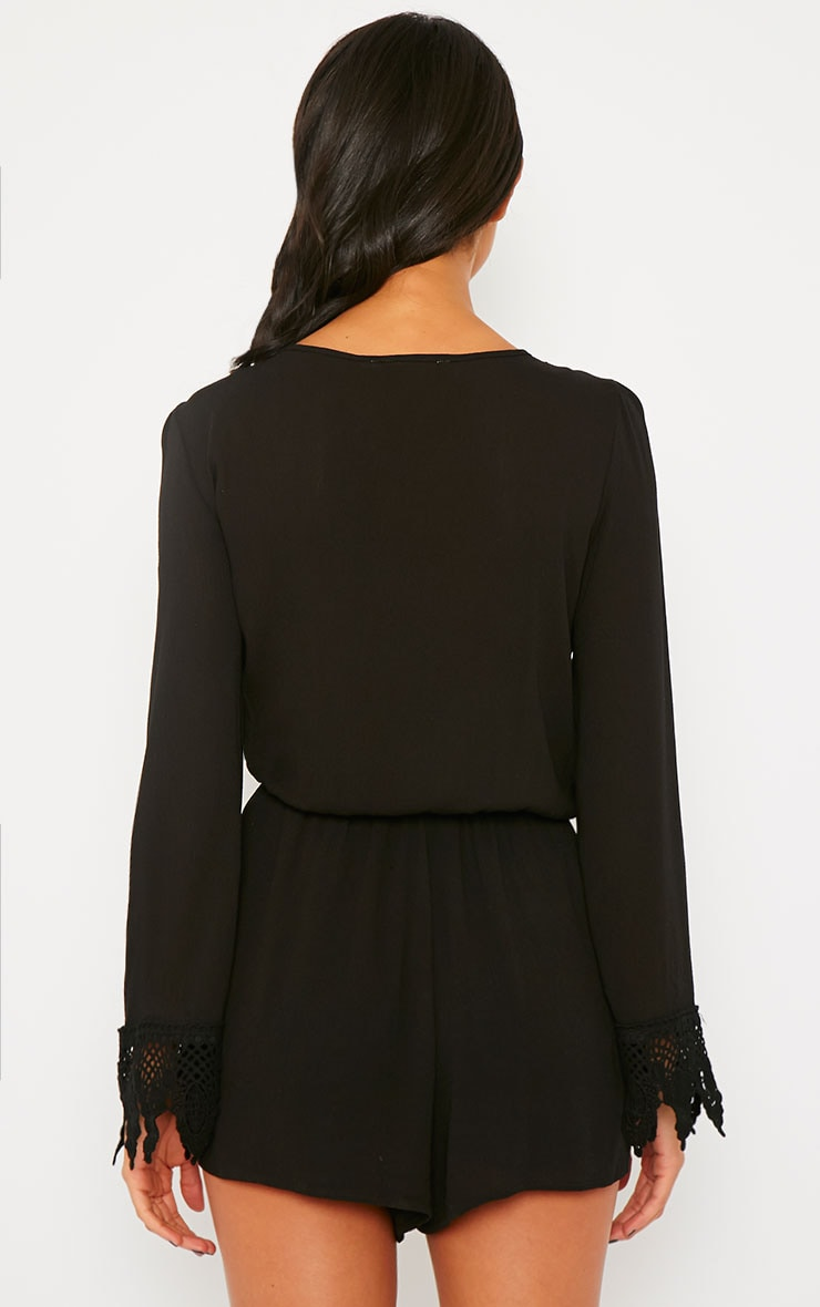 Marketta Black Wrap Front Embroidered Cuff Playsuit 2