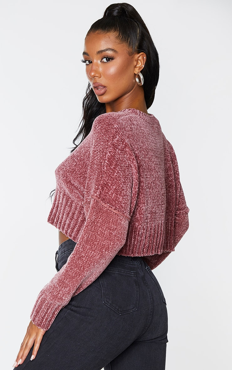 Rose Chenille Knitted Deep Hem Sweater 2