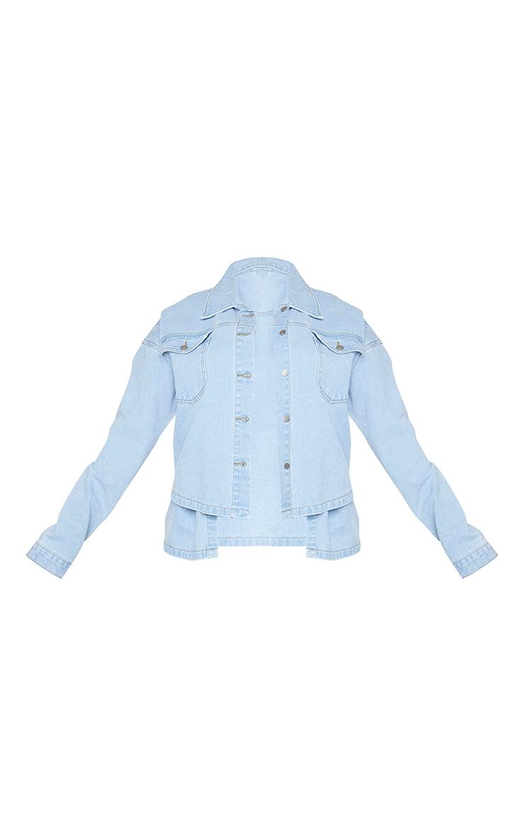 Plus Light Blue Washed Denim Overlay Jacket 5