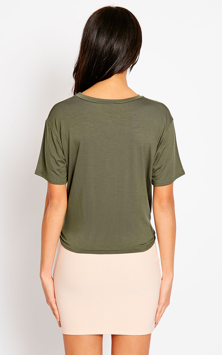 April Khaki Tie Front Crop Tee 2