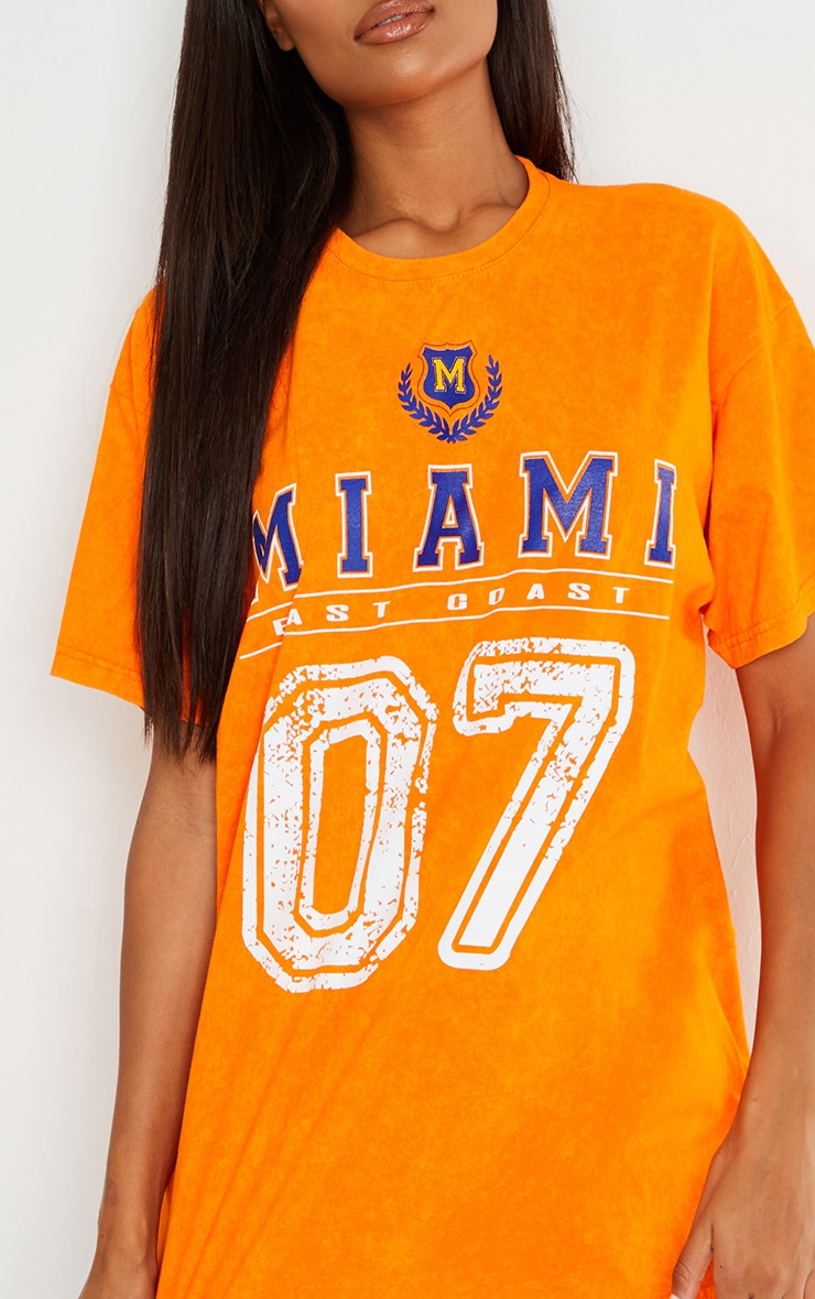 Orange Miami Distressed Print Washed T Shirt 4