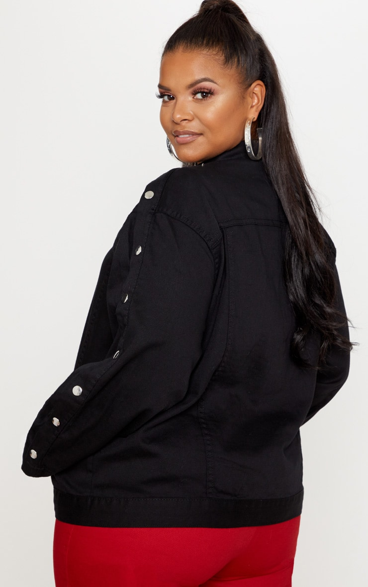 Plus Black Popper Detail Denim Jacket 2
