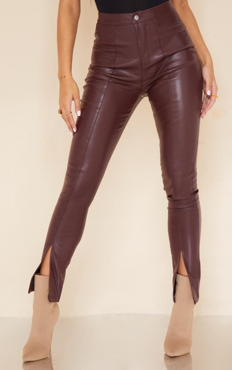 Dark Chocolate Split Hem Faux Leather Skinny Pants 2