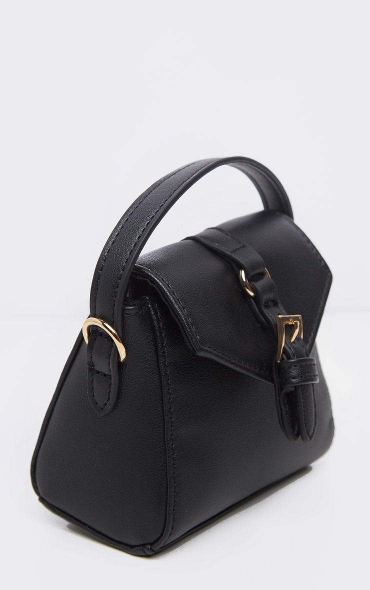 Black Buckle Detail Single Handle Mini Bag 4