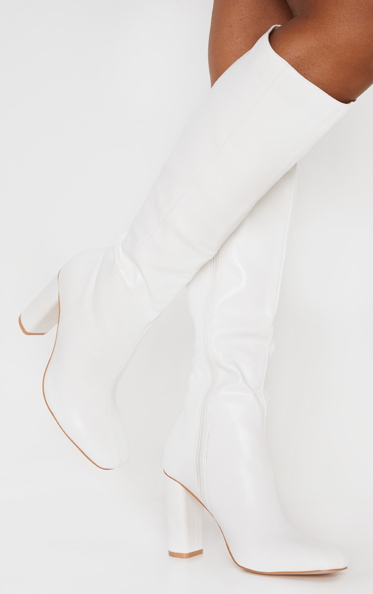 White Round Block Heel Knee High Boots 2
