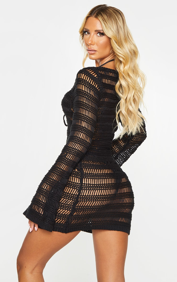 Black Open Stitch Lace Up Front Long Sleeve Knitted Dress 2