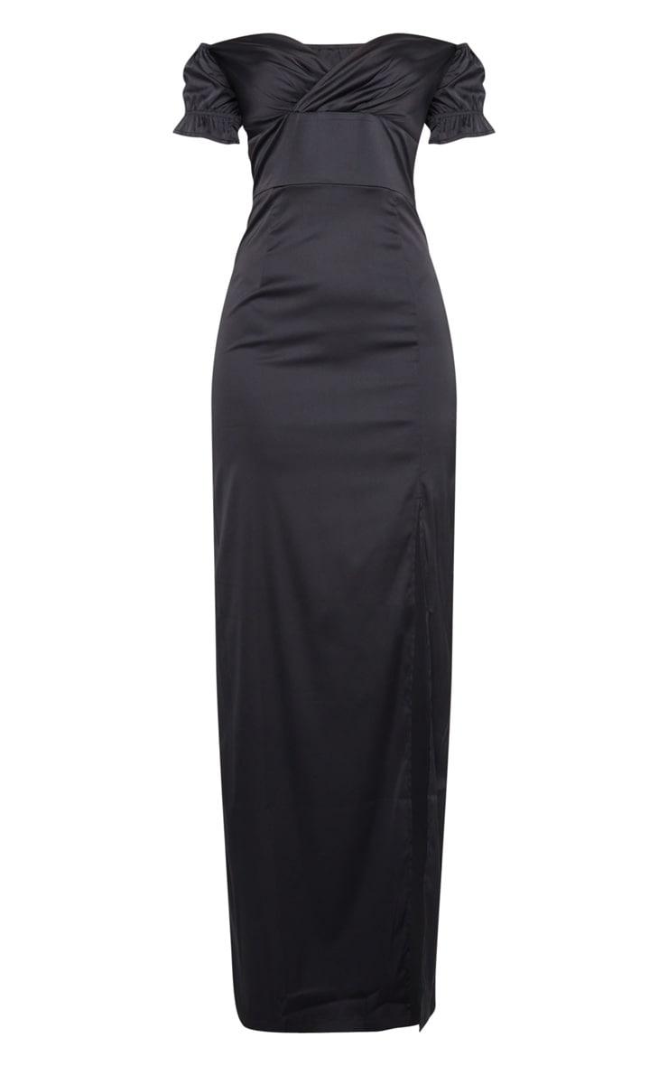 Black Satin Wrap Bardot Maxi Dress 5