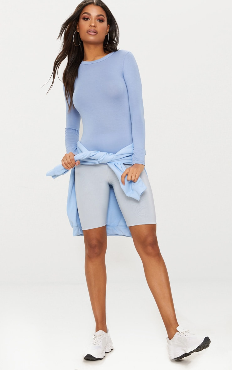 Basic Dusky Blue Long Sleeve Fitted T Shirt  4