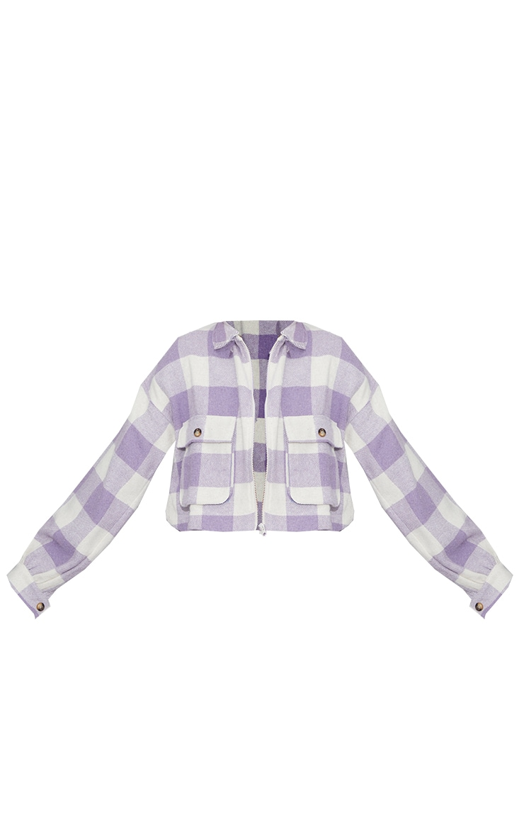Lilac Checked Cropped Zip Detail Shacket 5