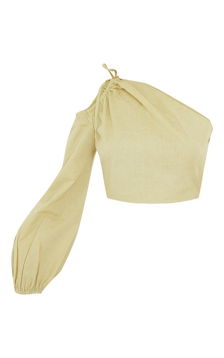 Sage Khaki Linen Look Ruched One Shoulder Cut Out Crop Top 5