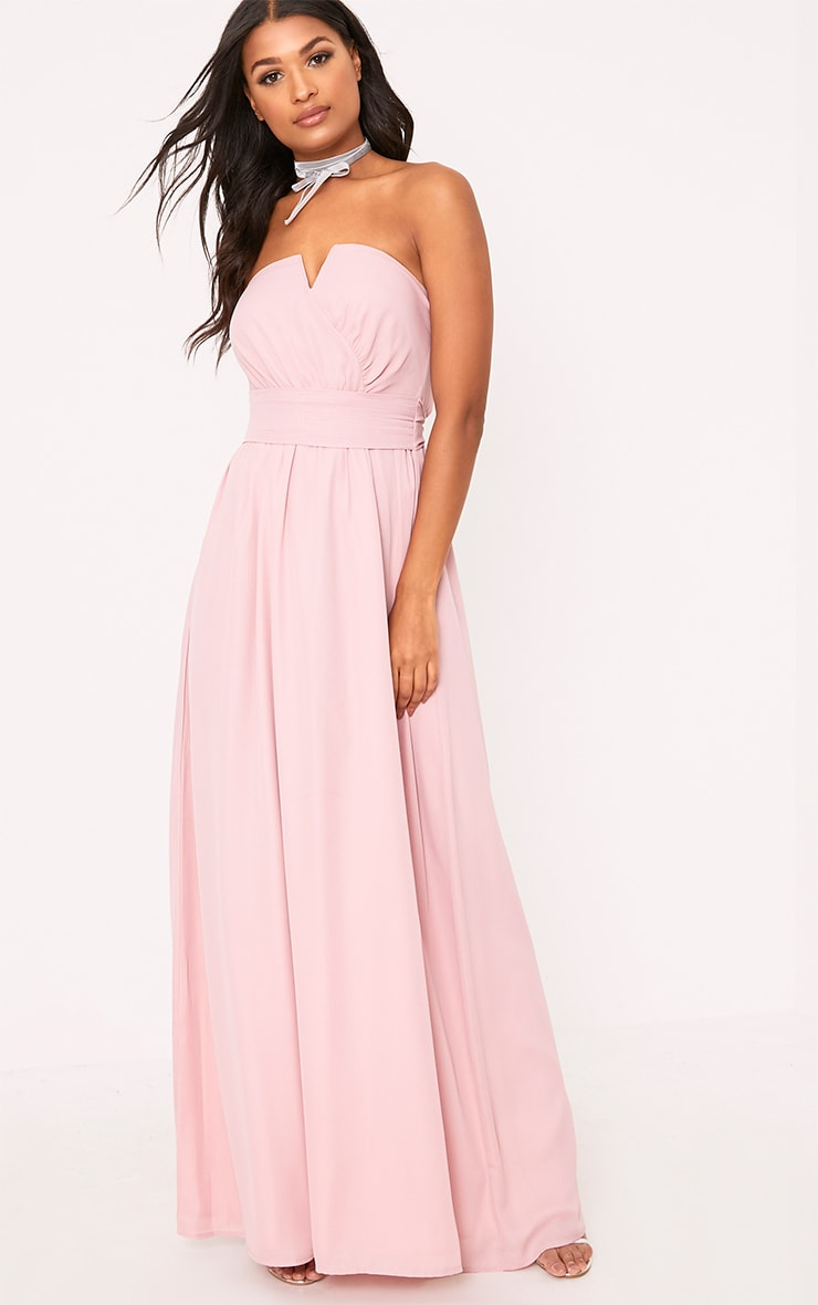 Lainey Dusty Pink Bandeau Maxi Dress 1