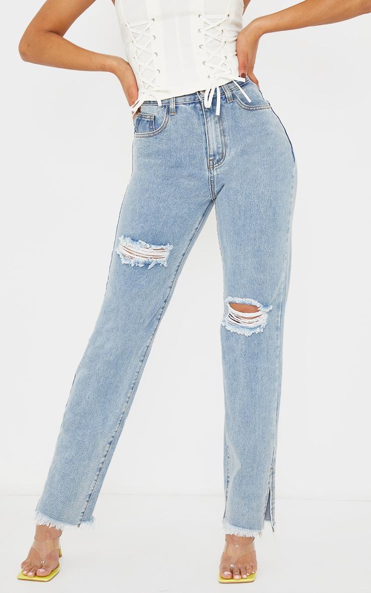Light Blue Wash Double Bum Rip Split Hem Jeans 2