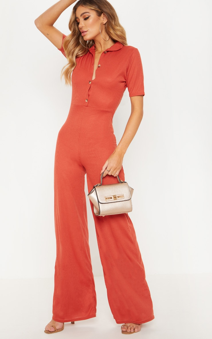 Rust Tortoiseshell Button Ribbed Wide Leg Jumpsuit
