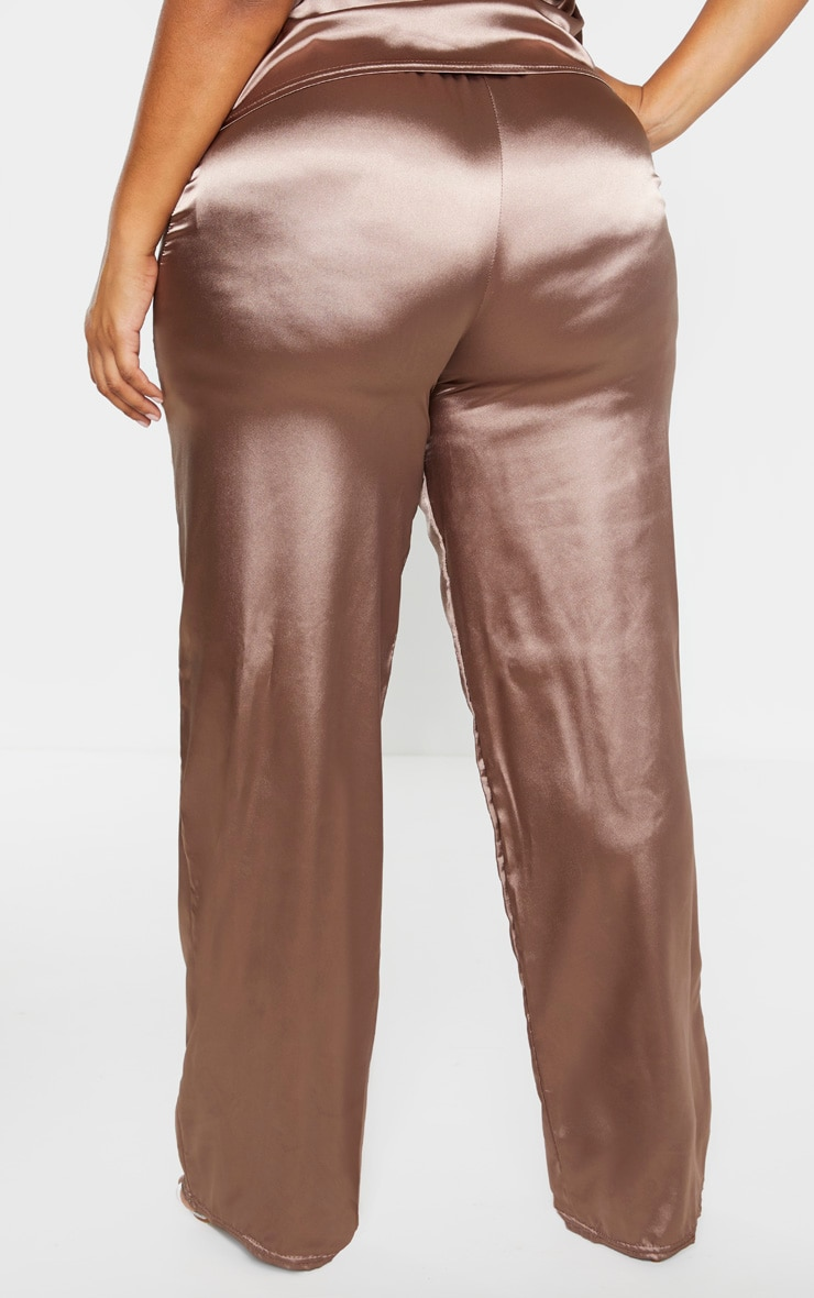 Plus Mocha Satin Drawstring Wide Leg Trouser  4