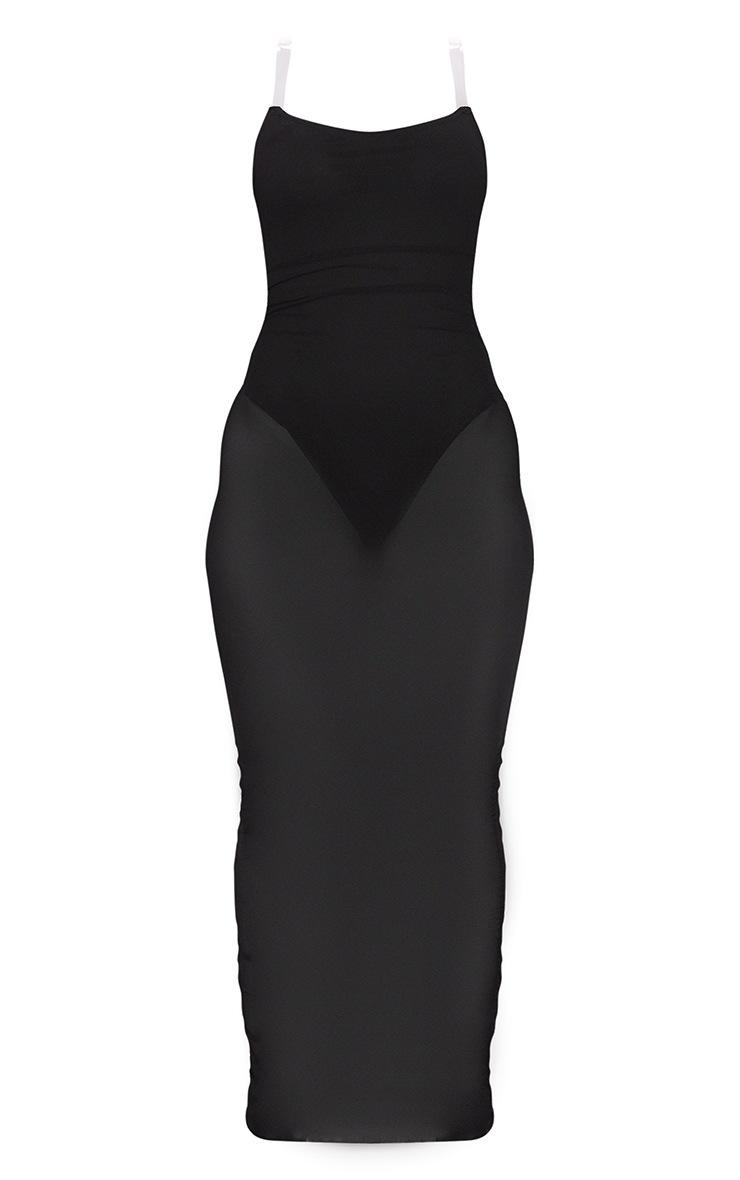 Robe très longue noire en mesh froncé transparent à bretelles transparentes  5
