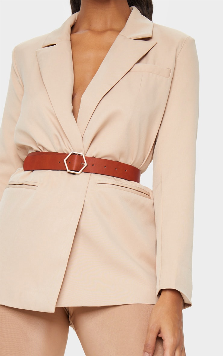 Tan Basic Hexagon Buckle Belt 2