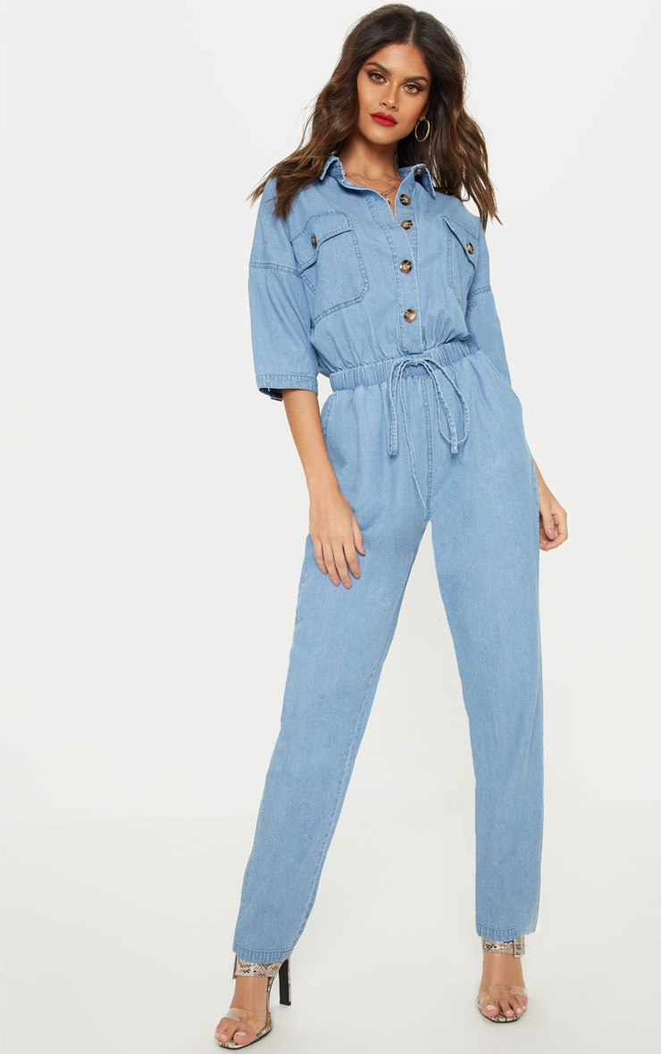 Light Wash Tortoise Button Chambray Jumpsuit  1