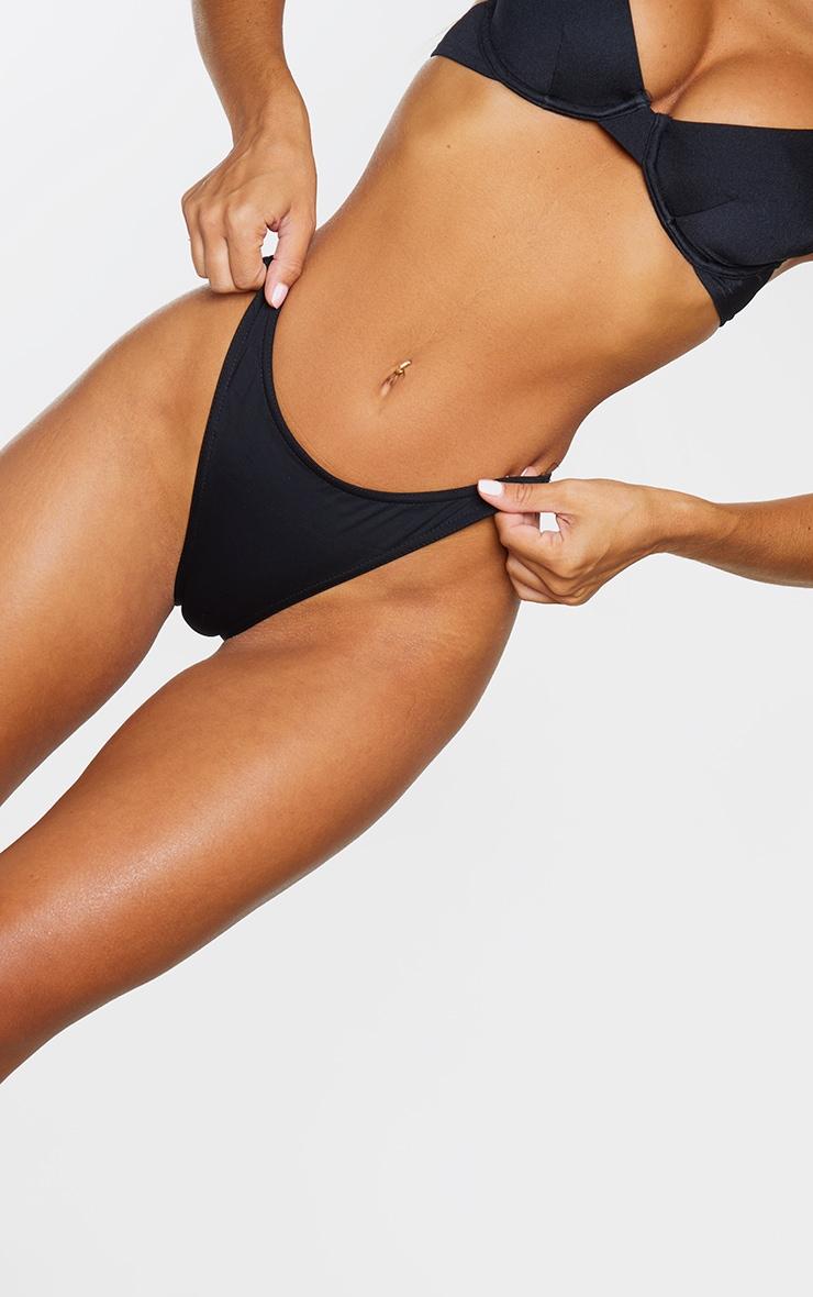 Black Recycled Fabric Mix & Match High Leg Bikini Bottom 5
