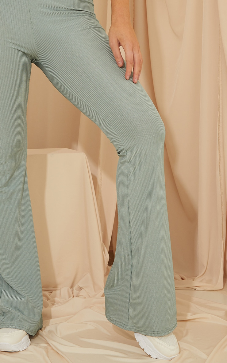 Dark Mint Shiny Rib Flared Pants 4