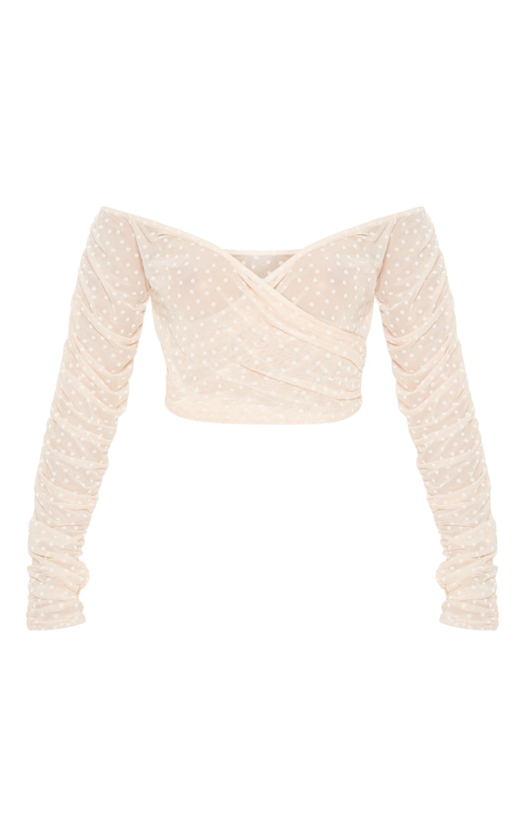 Nude Dobby Mesh Sheer Ruched Sleeve Bardot Crop Top 3
