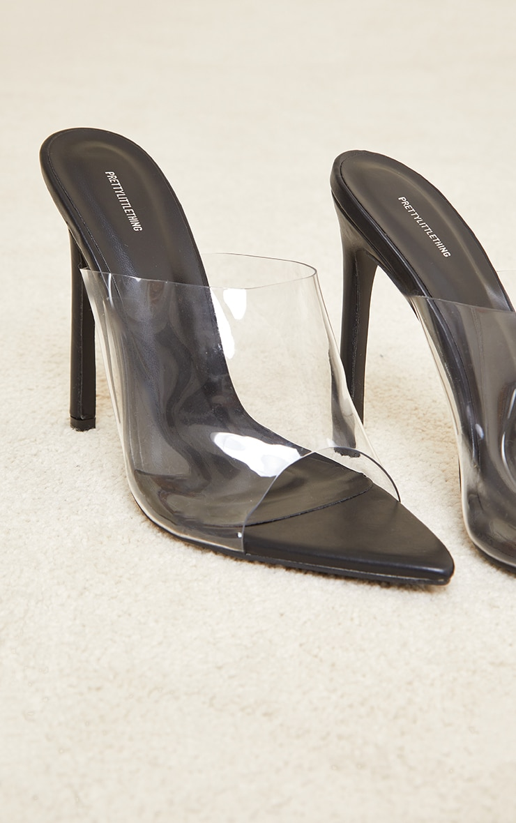 Black Clear Strap Pu Point Toe High Heels 3