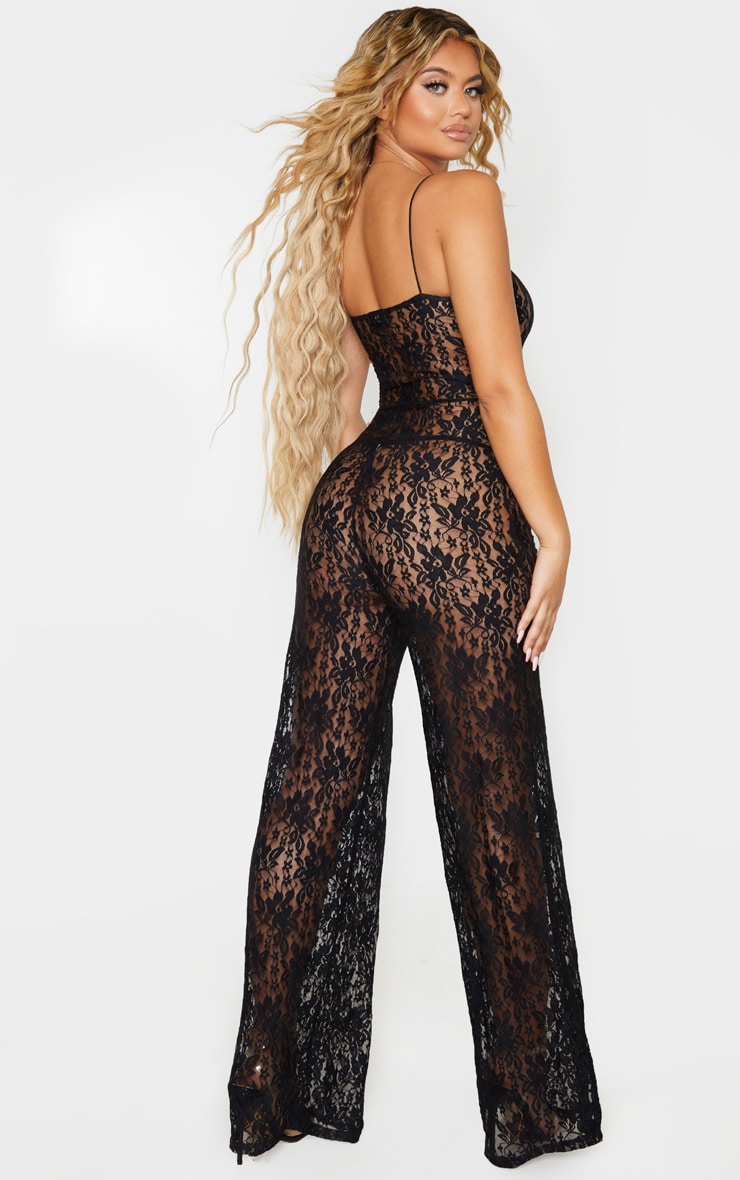 Black Sheer Lace Strappy Jumpsuit 2