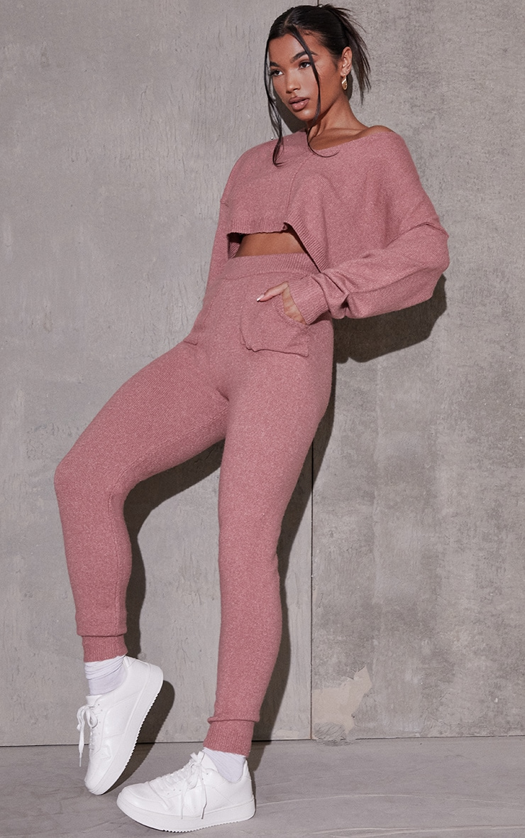 Pink Recycled Crop Sweater And Jogger Knitted Lounge Set 1