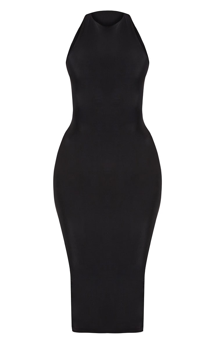 Black Second Skin Double Layered Slinky Racer Neck Midaxi Dress 3