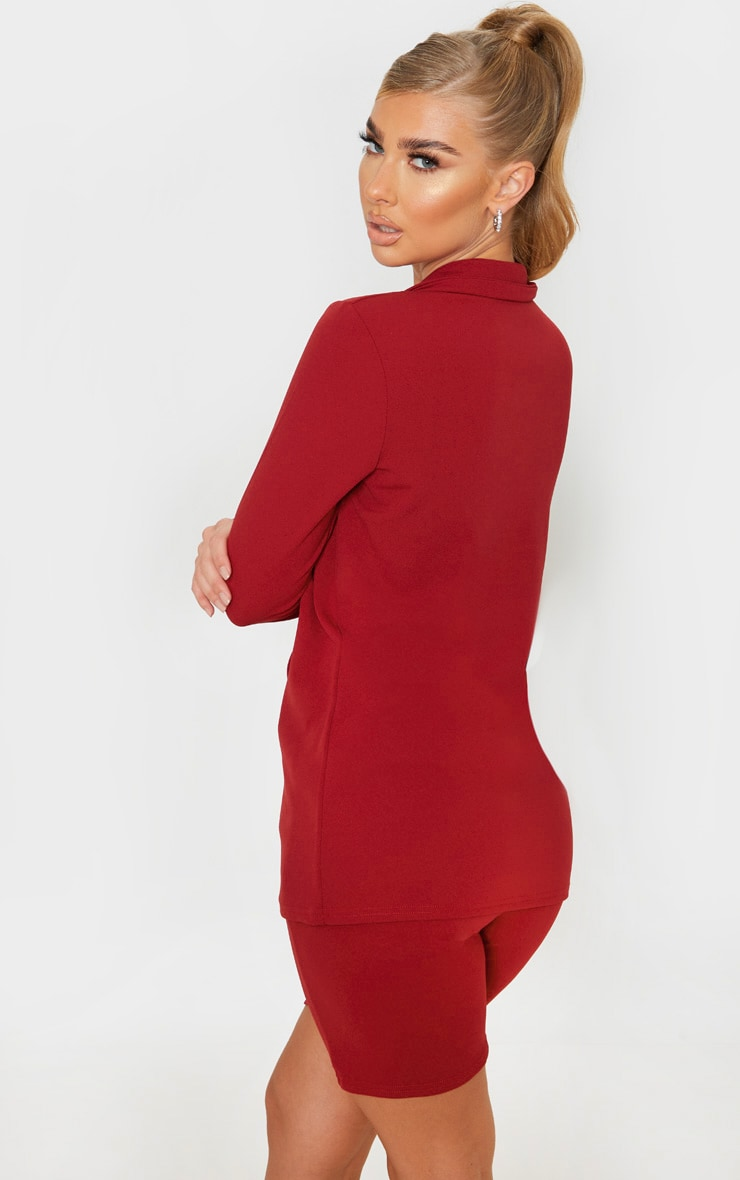 Deep Red Double Breasted Button Suit Jacket  2
