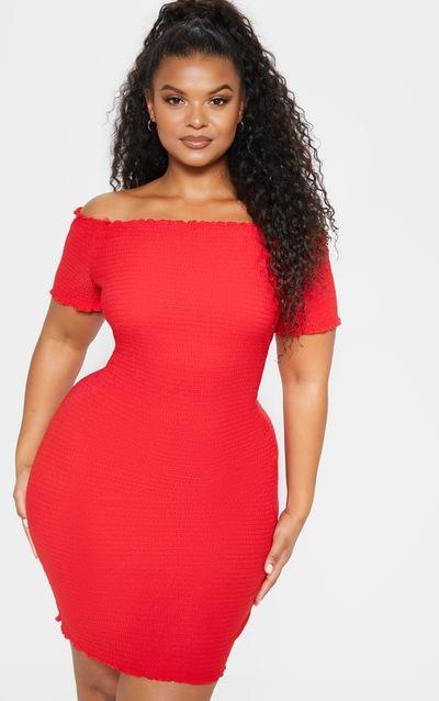 61d6c3fff7f Plus Red Textured Bardot Puff Sleeve Bodycon Dress PrettyLittleThing Sticker