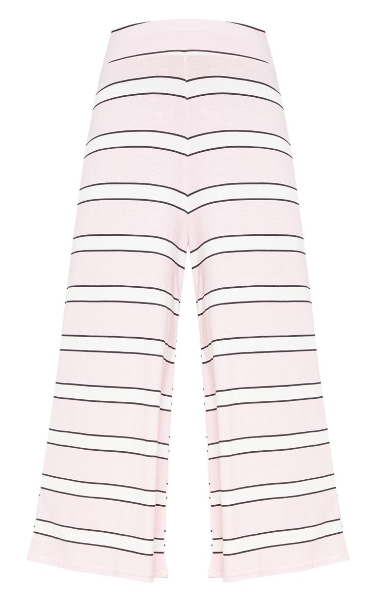 Baby Pink Stripe Printed Basic Culotte 3