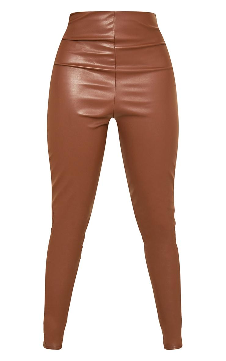 Tall Tan Basic Faux Leather High Waist Leggings 5